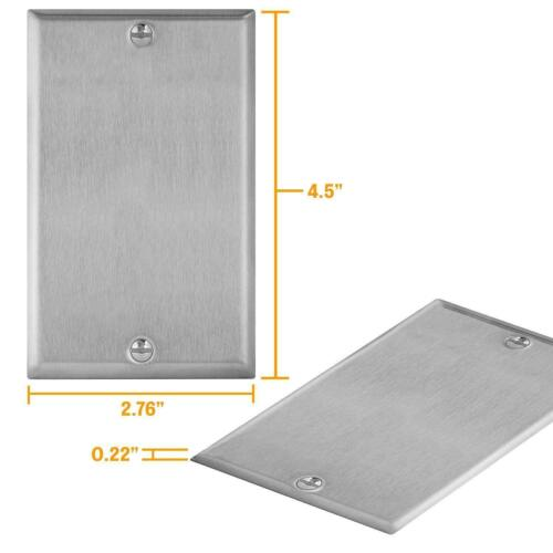 Brushed Stainless Steel Blank Outlet Cover No Device Wall Plate 430 SS