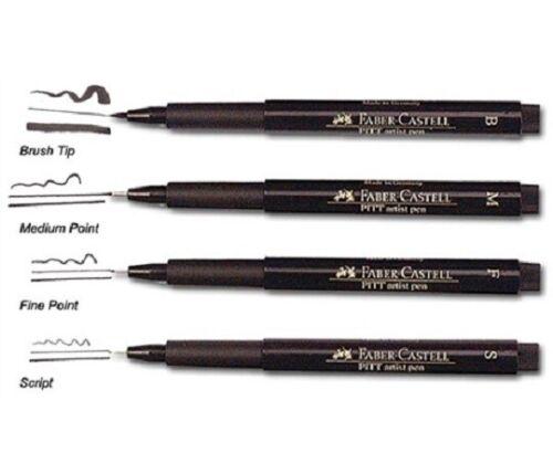 Faber-Castell Pitt Artist Pens ALL BLACK 4 pc set 567100 Brand NEW multiple pts