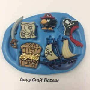 Silicone-Mould-Pirate-Ship-Map-Treasure-Chest-Cutlass-Parrot-Cupcake-Topper-Fimo