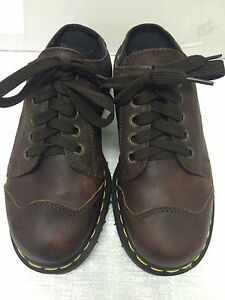 dr martens slip on casual shoe  brown leather women's