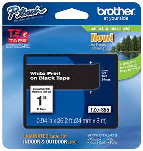 "Brother 1"" (24mm) White on Black P-touch Tape for PTE550, PT-E550W Label Maker"