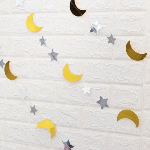 Star Moon Ramadan Kareem Decorations Eid Mubarak Hajj Banner Bunting Baby Shower