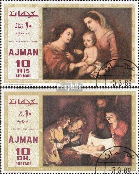 Ajman 455A-456A fine used / cancelled 1969 Paintings