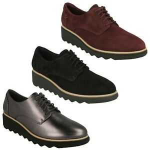 Women-clarks-soft-cushion-leather-lacing-casual-lightweight-shoes-sharon-noel