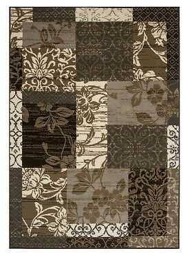 Milan Brown Grey Black Beige & Cream Patchwork Rug Rugs in 8 Sizes Small - Large