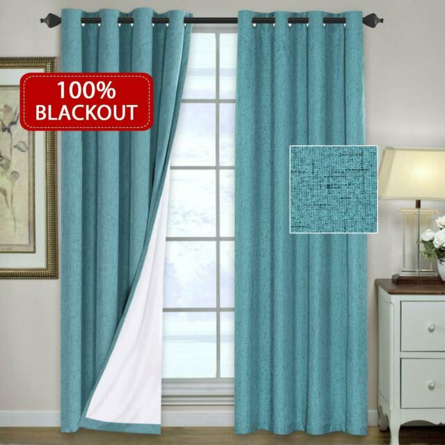 Full Blackout Curtain Thermal Insulated Window Panel for Living Room, 1 Pair