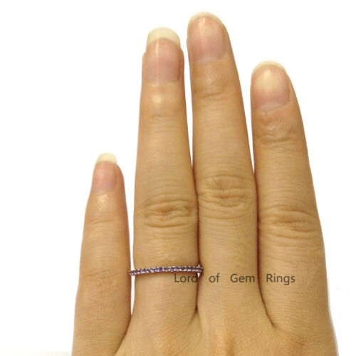 Stackable Natural Amethyst Half Eternity Wedding Anniversary Ring14K Yellow Gold