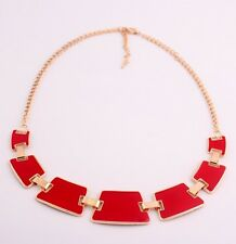 Lady Jewelry Fashion Red Enamel Metal Geometry Choker Bib Collar Necklace Top