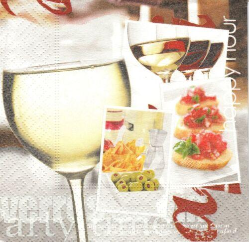 3 Serviettes en papier Cocktail Vin Tapas Decoupage Paper Napkins Wine