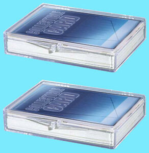 2-ULTRA-PRO-35-COUNT-CLEAR-HINGED-CARD-STORAGE-BOX-Case-Holder-Sports-Trading