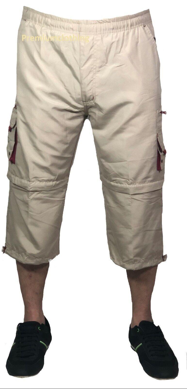 Homme Été 3//4 Short Taille Élastique Cargo Combat Trois Quart Pantalon 3//4