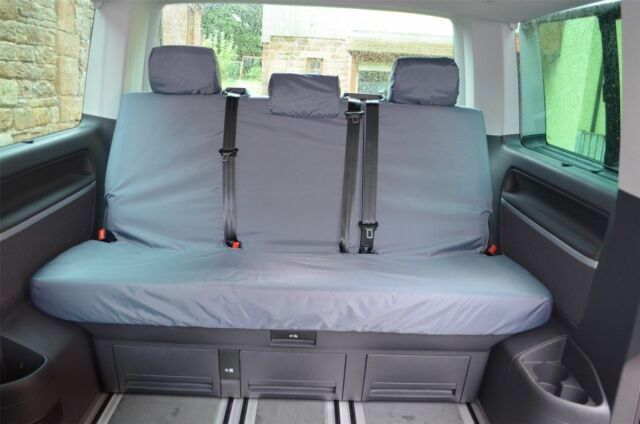03-15 Tailored Fit Black Triple Rear Bench Seat Covers for VW Caravelle T5