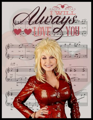 """/""""I WILL ALWAYS LOVE YOU/"""" SHEET MUSIC. DOLLY PARTON FRIDGE MAGNET LARGE 4X5"""