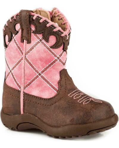 Roper Infant-Girls/' Cow Diamond Whipstitch Pre-Walker Cowgirl Boot Round Toe