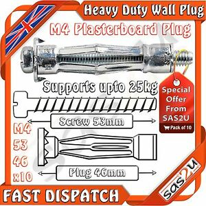 10-Piranha-Molly-M4-Metal-Cavity-Wall-Plasterboard-Fixing-Anchor-Plug-53mm-Screw