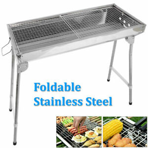 Fold Barbecue Charcoal Grill Stove Shish Kebab Stainless Steel BBQ Patio Camping