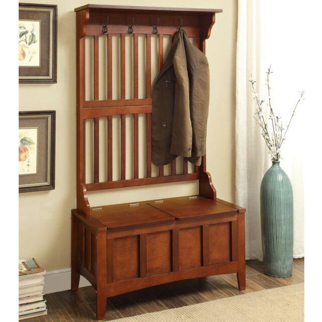 Exceptionnel Wide Hall Tree Wood Hallway Shoe Storage Bench Pine Wooden Coat Rack Hat  Stand