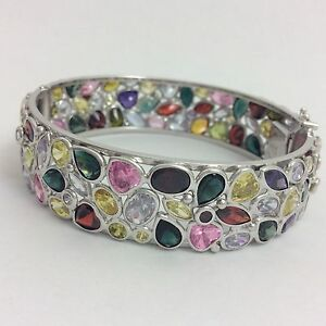Image Is Loading 14k White Gold Semi Precious Multi Color Stone