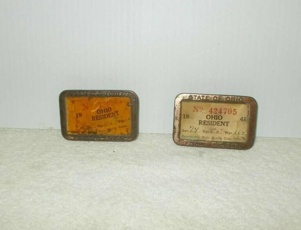 2OHIO  RESIDENT FISHING LICENSE, 1941 & 1942 in Metal Case  70% off cheap