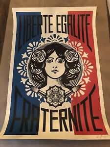 SIGNED-Shepard-Fairey-Liberte-Egalite-Fraternite-Print-Poster-Obey-Giant-24-X-36