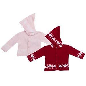 Newborn-Baby-Children-Girls-Pink-Red-Hooded-Heart-Design-Cardigan-Jumper-0-9mths