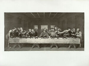 aft-DA-VINCI-amp-FOLO-Antq-amp-XRare-19thC-c1880-95-Restrike-Engraving-THE-LAST-SUPPER