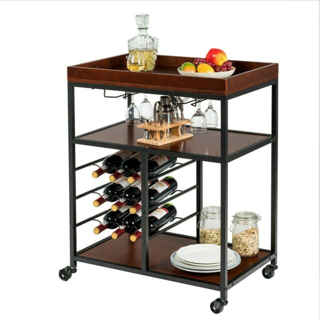 3 Tier Rolling Wood Metal Bar Serving Cart With Wine Rack And Glass Holder Us