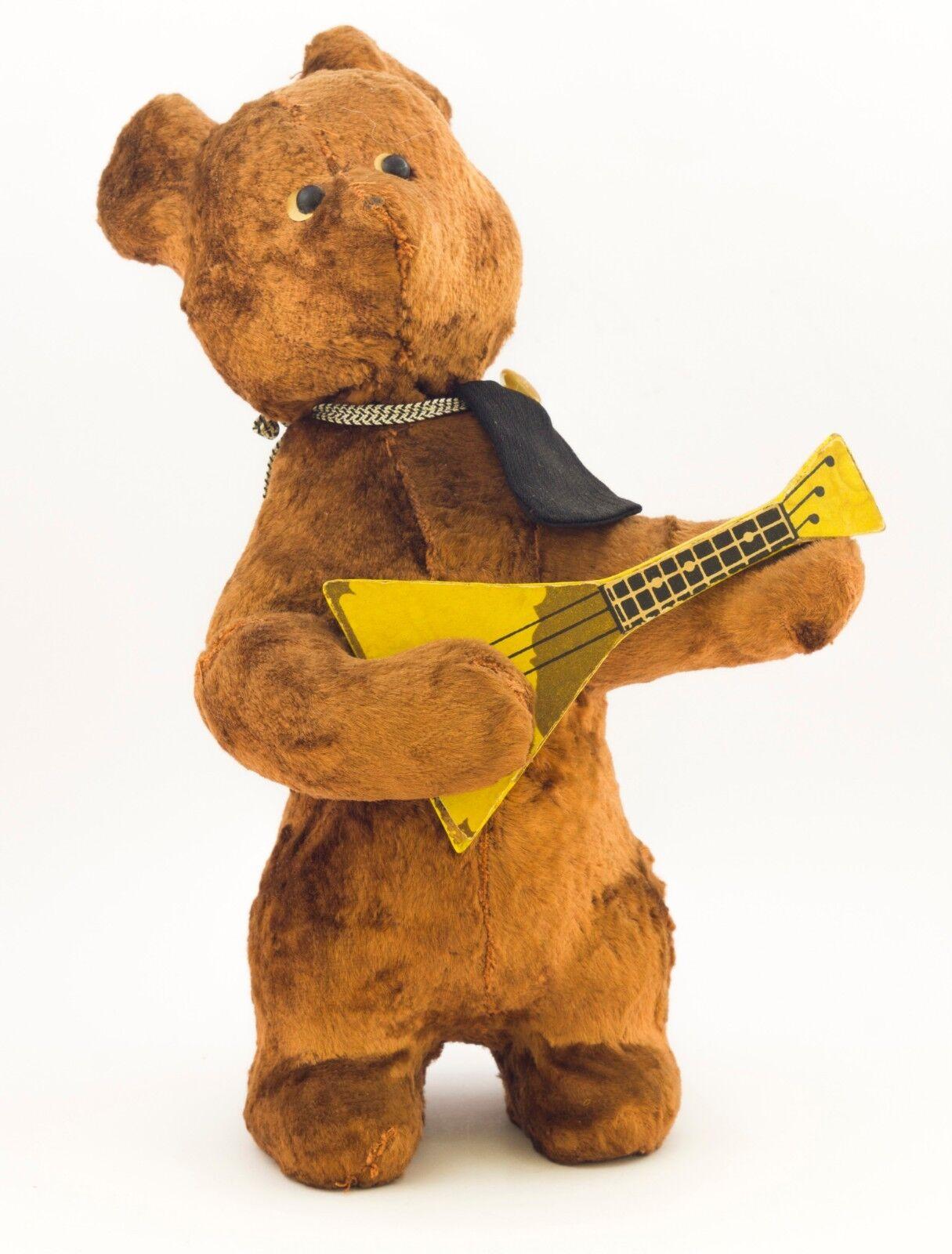 Rara Vintage Wind-up URSS ruso oso de felpa juguete mecánico con Balalaika