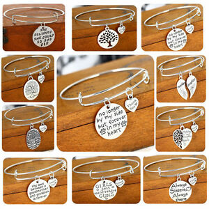 Silver-Plated-Pendant-Heart-Charm-Bracelet-Women-Men-Bangle-Jewelry-Family-Love