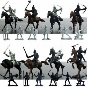 Kids-Toy-Medieval-Knights-Warriors-Horses-Soldiers-Figures-Model-Playset-28Pcs