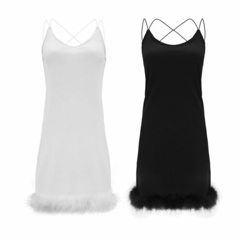 Womens Ladies Sleeveles Strappy Fur Faux Hem Trim Shift Bodycon Party Dress 8-14