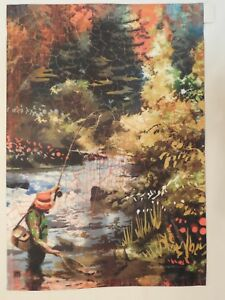 Fly Fishing Fisherman reels in Trout, Net, Stream Fresh Water, Fish, Garden flag - Deutschland - Fly Fishing Fisherman reels in Trout, Net, Stream Fresh Water, Fish, Garden flag - Deutschland