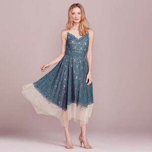 17dfd6e38c3 Lauren Conrad Blue Floral Lace Tulle Hanky Hem Sleeveless V Neck ...