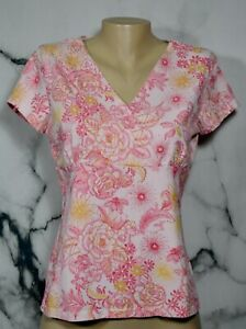 CROFT & BARROW STRETCH Pink Gold Floral Print Top Medium Short Sleeves Unlined