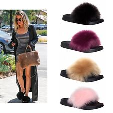 Womens Ladies Fur Slides Fuzzy Furry Slippers Comfort Sliders Sandals Shoes Size