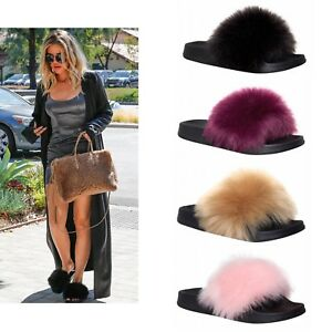 Womens Ladies Fur Slides Fuzzy Furry Slippers Comfort