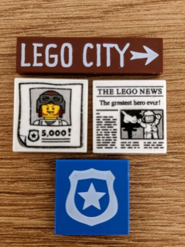 Lego 3068 Assortment City Newspaper Wanted Reward Poster Police Shield FREE P/&P