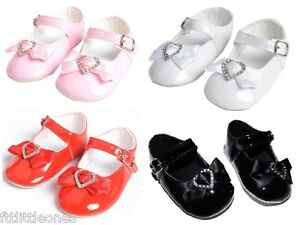 be35bd248b60 Image is loading BABY-GIRLS-PATENT-PRAM-SHOES-HEART-DIAMANTE-amp-