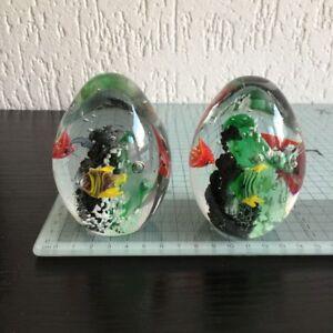 2 St Paperweight Briefbeschwerer Glas Kugel Glasdeko Wohndeko 6 x 10 cm F-3