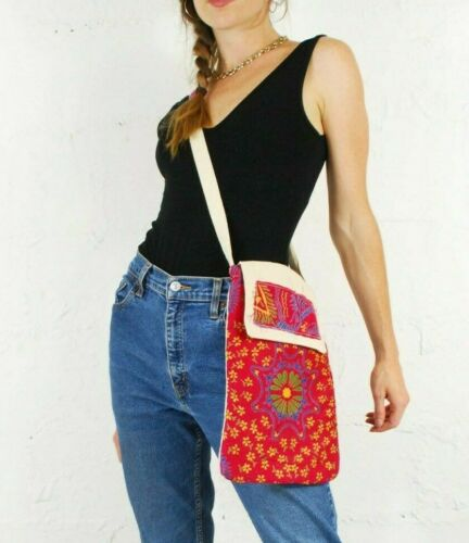 Details about  /Cross Body Festival Bag Indian Mandala Printed Silk Zipped Compartments