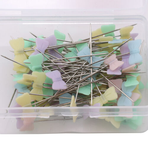 100pcs//Box Bowknot Patchwork Pins Flower Head Sewing Quilting Tool DIY Crafts GA