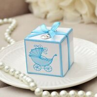Set Of 10 Blue Baby Carriage Favor Boxes W/ Thank You Baby Bib Charms & Ribbons
