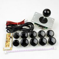 Arcade Diy Kit Parts USB Encoder To PC Joystick + 10 Push Buttons For Mame Black
