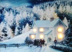 Christmas Led Canvas.Details About Christmas Led Canvas Illuminated Church House In Snow Canvas Picture 40 X 30cm
