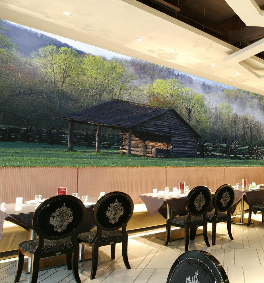 3D Chalet Nebel Bäume 7 Tapete Wandgemälde Tapete Tapeten Bild Familie DE Summer