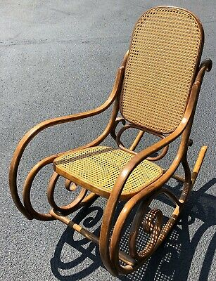 Vintage Bentwood Cane Rocking Chair Style of Thonet Stamped Made In Poland  & R 4 | eBay