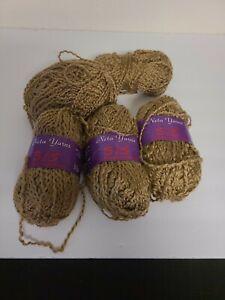Neta-Yarns-Sis-knitting-worsted-yarn-light-brown-lot-of-5-93-yds-each-NOS
