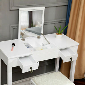 Excellent Details About Vanity Makeup Dressing Table Set W Stool Flip Top Mirror 2 Drawer Writing Desk Ncnpc Chair Design For Home Ncnpcorg