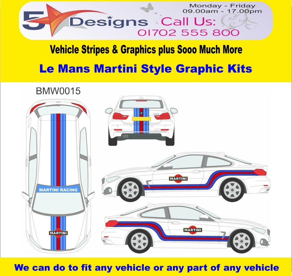 BMW 4 Series Coupe Le Mans Martini Race Rally Logo Graphics Kit 15