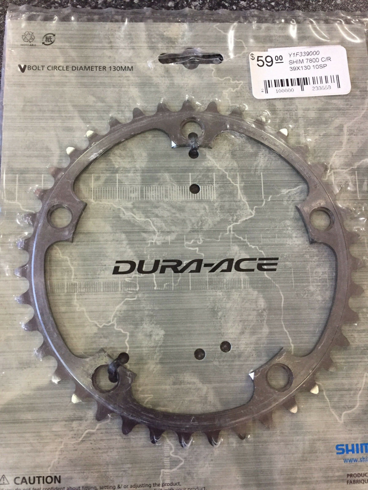Black Shimano DURA ACE FC-R9100 53T /& 39T Outer//Inner Chainrings 11-Speed